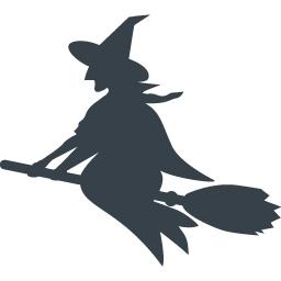 ホウキに乗った魔女のシルエットアイコン 1 商用可の無料 フリー のアイコン素材をダウンロードできるサイト Icon Rainbow