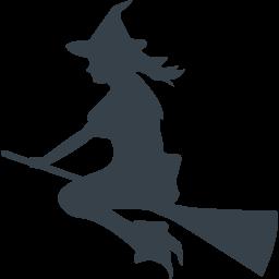 ホウキに乗った魔女のシルエットアイコン 2 商用可の無料 フリー のアイコン素材をダウンロードできるサイト Icon Rainbow