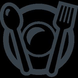 お皿とスプーンとフォークのレストランアイコン素材 3 商用可の無料 フリー のアイコン素材をダウンロードできるサイト Icon Rainbow